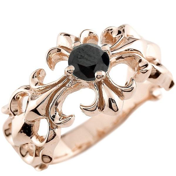 メンズ クロス リング ブラックダイヤモンド ピンクゴールドk10 幅広 指輪 ダイヤ ピンキーリング 10金 男性用