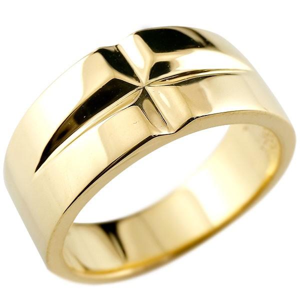 メンズ クロス リング イエローゴールドk18 幅広 指輪 ピンキーリング 地金 ストレート 18金 男性用