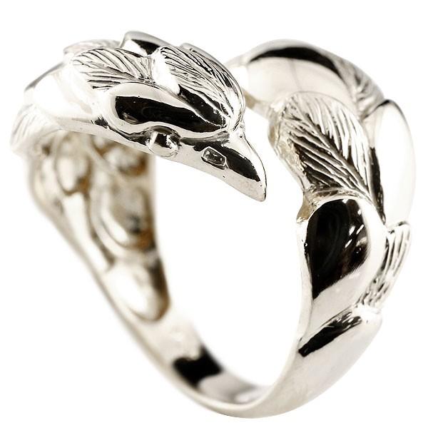 メンズ イーグル シルバーリング 鷹 フェザー 幅広 指輪 フリーサイズ ピンキーリング 地金 sv 男性用
