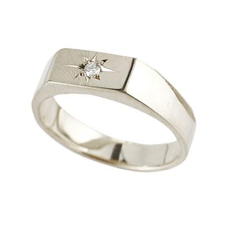 メンズ ダイヤモンド 印台リング 指輪 ダイヤ 一粒 ダイヤモンドリング ホワイトゴールドk10 10金 男性用 ストレート
