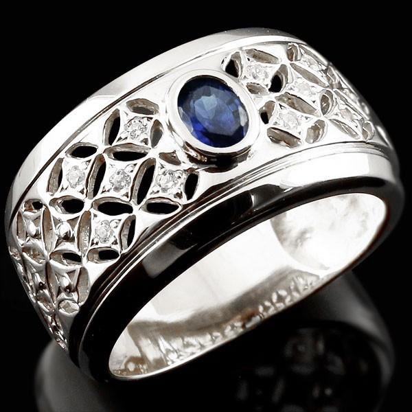 リング ダイヤモンド サファイア ホワイトゴールドk18 指輪 透かし 幅広リング  レディース 18金