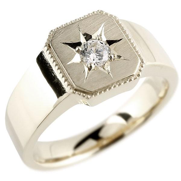 メンズ ダイヤモンド ホワイトゴールドk10 リング 印台 指輪 ダイヤ 一粒 ダイヤモンドリング k10 男性用 ストレート