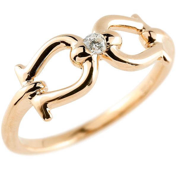 メンズ ダイヤモンド ピンクゴールドリング  指輪 ダイヤ 一粒 ダイヤモンドリング k10 男性用 ストレート