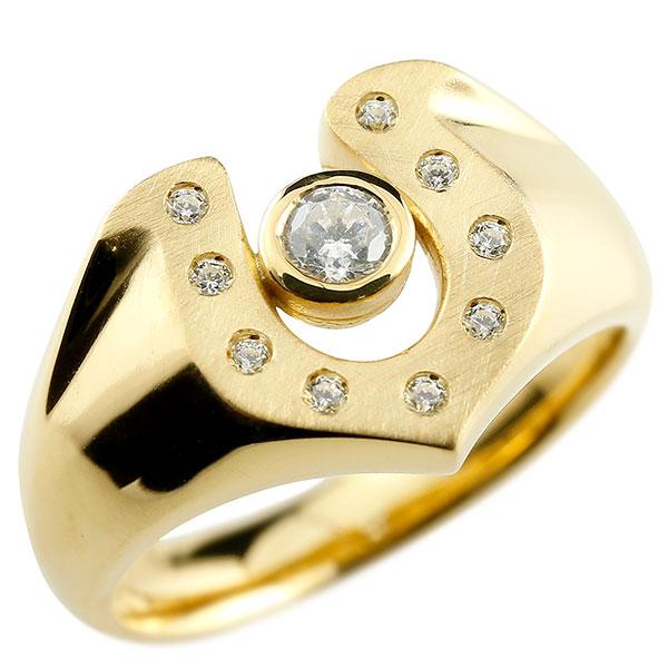メンズ ダイヤモンド イエローゴールドk10 リング 印台 指輪 ダイヤ 一粒 ダイヤモンドリング k10 男性用 ストレート