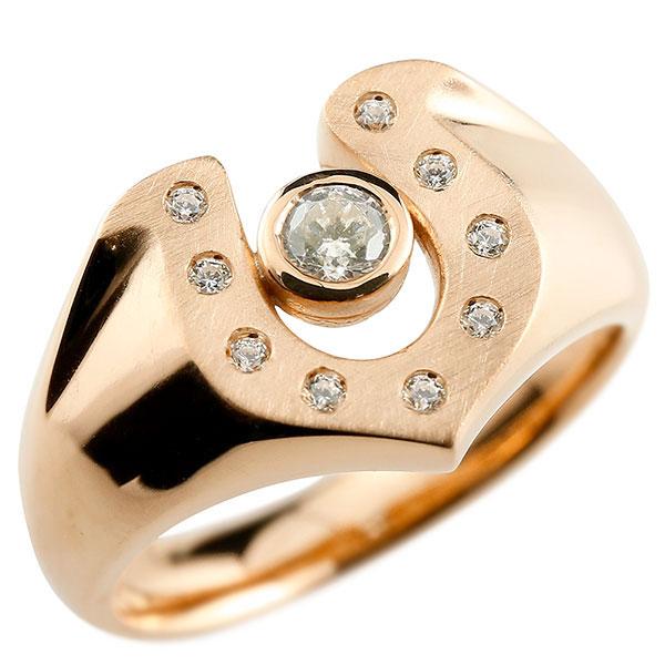メンズ ダイヤモンド ピンクゴールドk10 リング 印台 指輪 ダイヤ 一粒 ダイヤモンドリング k10 男性用 ストレート