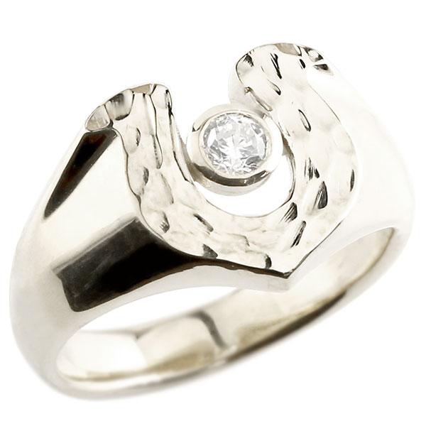 メンズ ダイヤモンド シルバーリング 印台 指輪 ダイヤ 一粒 ダイヤモンドリング sv925 男性用 ストレート