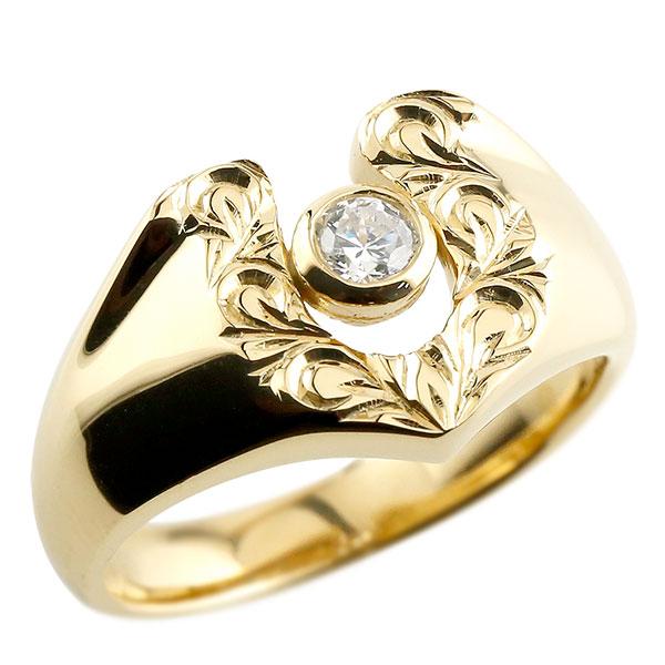 メンズ ダイヤモンド イエローゴールドk18 リング 印台 指輪 ダイヤ 一粒 ダイヤモンドリング k18 男性用 ストレート