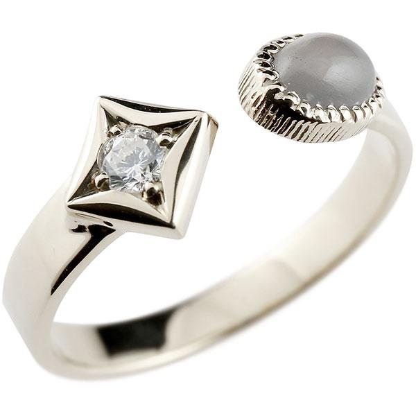 メンズ リング プラチナ グレームーンストーン リング 指輪 婚約指輪 18金 ダイヤ柄 菱形 男性用 コントラッド 東京