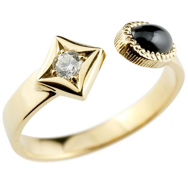 メンズ リング オニキス イエローゴールドk18 リング 指輪 婚約指輪 18金 ダイヤ柄 菱形 フリーサイズ 男性用 コントラッド 東京