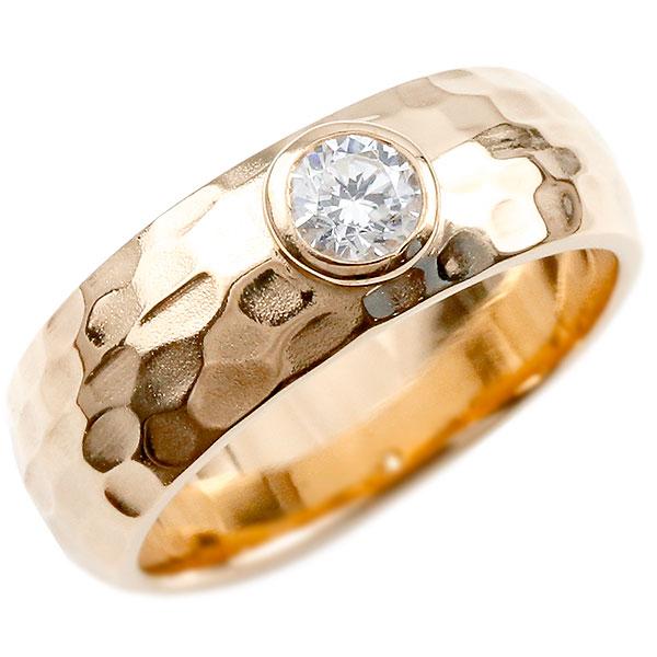 メンズ キュービックジルコニア ピンクゴールドk18 指輪 一粒 大粒 キュービックジルコニアリング 幅広 ストレート 槌目 槌打ち ロック仕上げ 男性用 k18