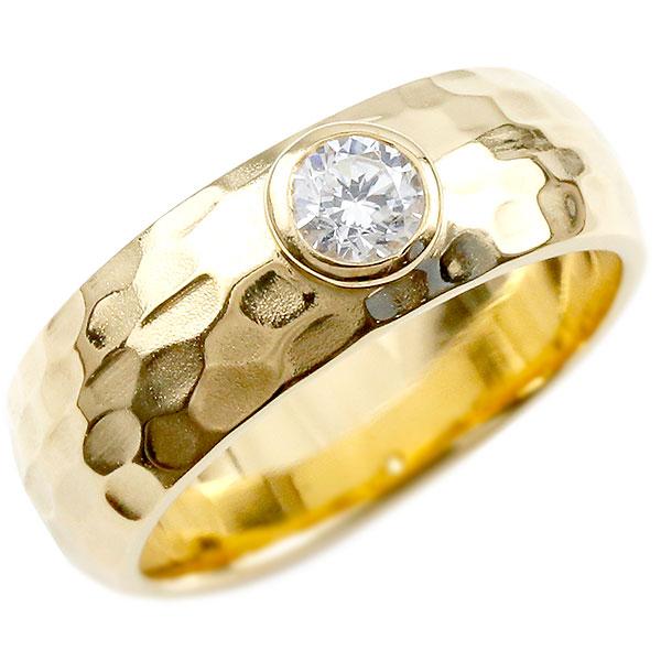 メンズ キュービックジルコニア イエローゴールドk18 指輪 一粒 大粒 キュービックジルコニアリング 幅広 ストレート 槌目 槌打ち ロック仕上げ 男性用 k18