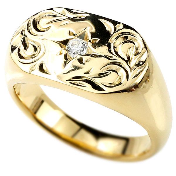 メンズ ハワイアンジュエリー リング ダイヤモンド イエローゴールドk10 印台 指輪 幅広 ハワイアン スクロール ダイヤ 一粒 10金男性用