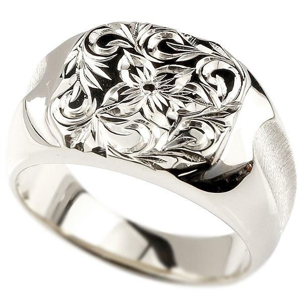 メンズ ハワイアンジュエリー プラチナリング 印台 指輪 pt900 幅広 ハワイアン スクロール プルメリア 男性用