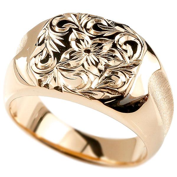 メンズ ハワイアンジュエリー リング 印台 ピンクゴールドk10 指輪 幅広 ハワイアン スクロール プルメリア 10金 男性用