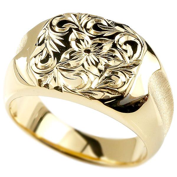 メンズ ハワイアンジュエリー リング 印台 イエローゴールドk18 指輪 幅広 ハワイアン スクロール プルメリア 18金 男性用