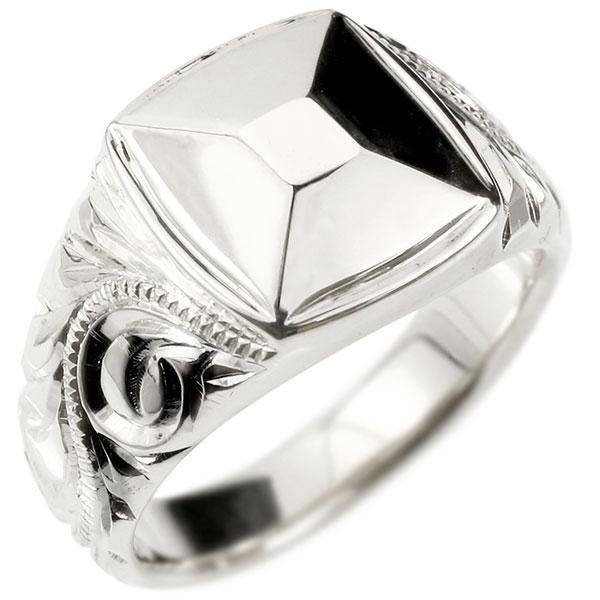 メンズ ハワイアンジュエリー リング ホワイトゴールドk18 印台 幅広 指輪 18金 ハワイアン スクロール マイレ ミル打ち 男性用