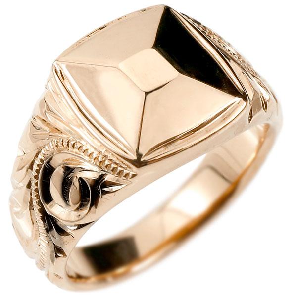 メンズ ハワイアンジュエリー リング ピンクゴールドk18 印台 幅広 指輪 18金 ハワイアン スクロール マイレ ミル打ち 男性用