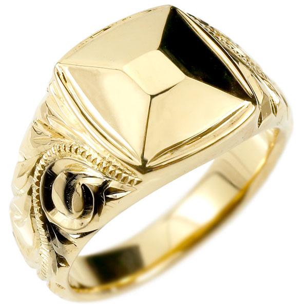 メンズ ハワイアンジュエリー リング イエローゴールドk10 印台 幅広 指輪 10金 ハワイアン スクロール マイレ ミル打ち 男性用