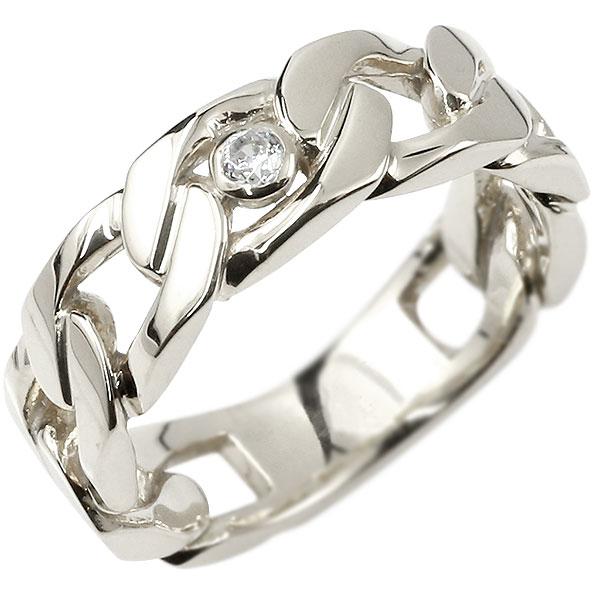 メンズ 喜平リング ダイヤモンド ホワイトゴールドk10 リング 指輪 婚約指輪 10金 キヘイ 鎖 ダイヤ 一粒 幅広 男性用
