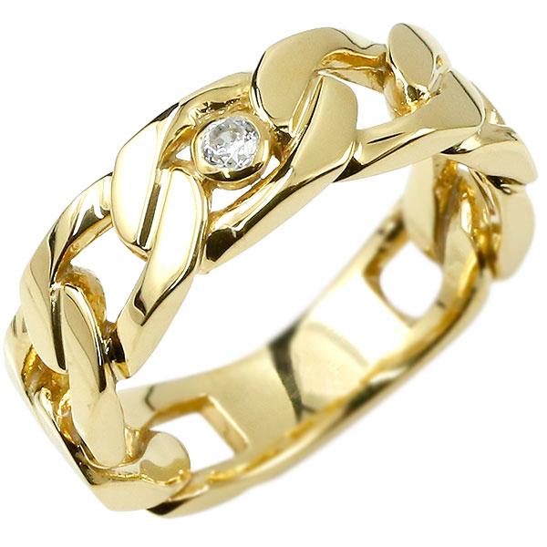 メンズ 喜平リング ダイヤモンド イエローゴールドk18 リング 指輪 婚約指輪 18金 キヘイ 鎖 ダイヤ 一粒 幅広 男性用