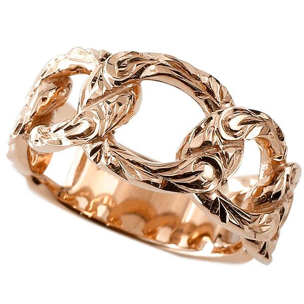 メンズ 喜平リング ハワイアンジュエリー ピンクゴールドk18 リング 指輪 婚約指輪 18金 キヘイ 鎖 幅広 男性用