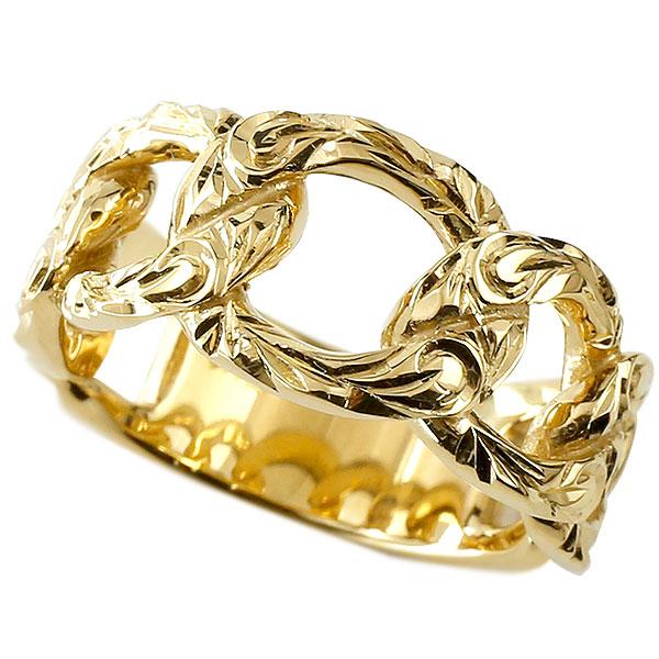 メンズ 喜平リング ハワイアンジュエリー イエローゴールドk18 リング 指輪 婚約指輪 18金 キヘイ 鎖 幅広 男性用