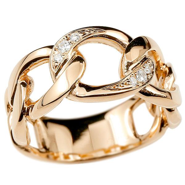 メンズ 喜平リング ダイヤモンド ピンクゴールドk10 リング 指輪 婚約指輪 10金 キヘイ 鎖 ダイヤ 幅広 男性用