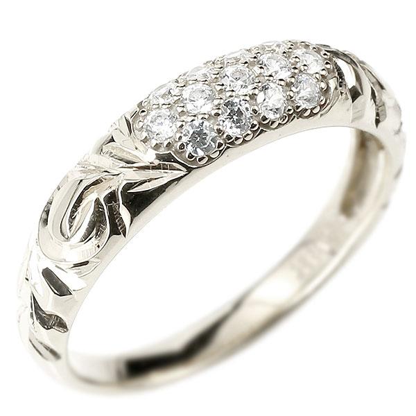 メンズ ダイヤモンドリング パヴェ ホワイトゴールドk18 リング 指輪 ピンキーリング 18金 18k k18 男性用 ストレート