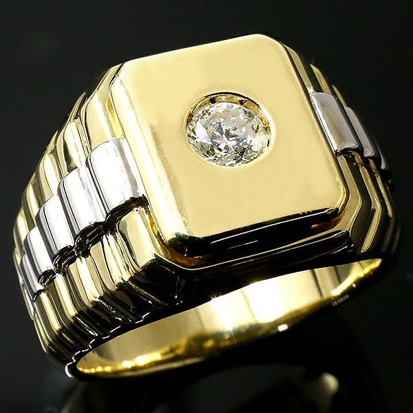 メンズ ダイヤモンドリング イエローゴールドk18 プラチナ 指輪 ダイヤ 一粒 大粒 pt900 18金 幅広 コンビ ピンキーリング 男性用 人気 夏