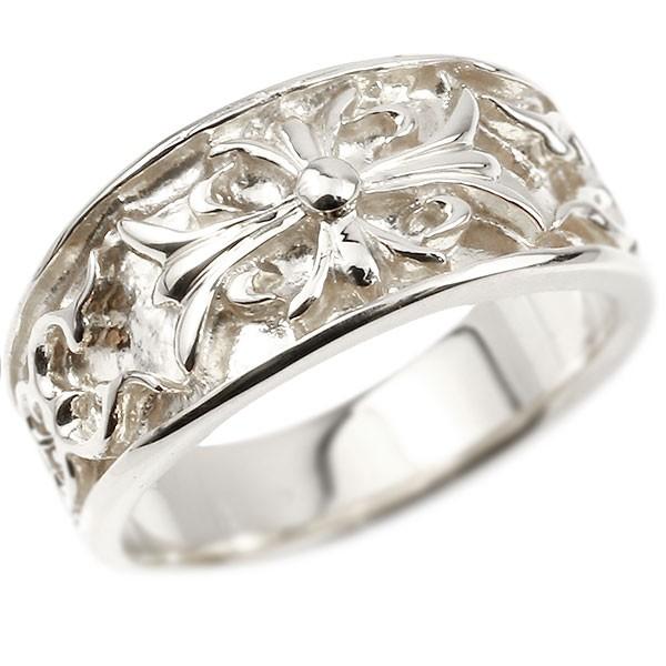 メンズ プラチナリング クロス ユリの花 幅広 指輪 地金 リング シンプル 宝石なし pt900 ピンキーリング フルール・ド・リス 男性用