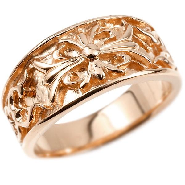 メンズ リング ピンクゴールドk10 クロス ユリの花 幅広 指輪 地金 リング シンプル 宝石なし ピンキーリング フルール・ド・リス 男性用
