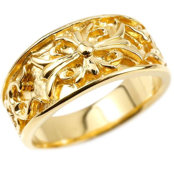 メンズ リング イエローゴールドk10 クロス ユリの花 幅広 指輪 地金 リング シンプル 宝石なし ピンキーリング フルール・ド・リス 男性用