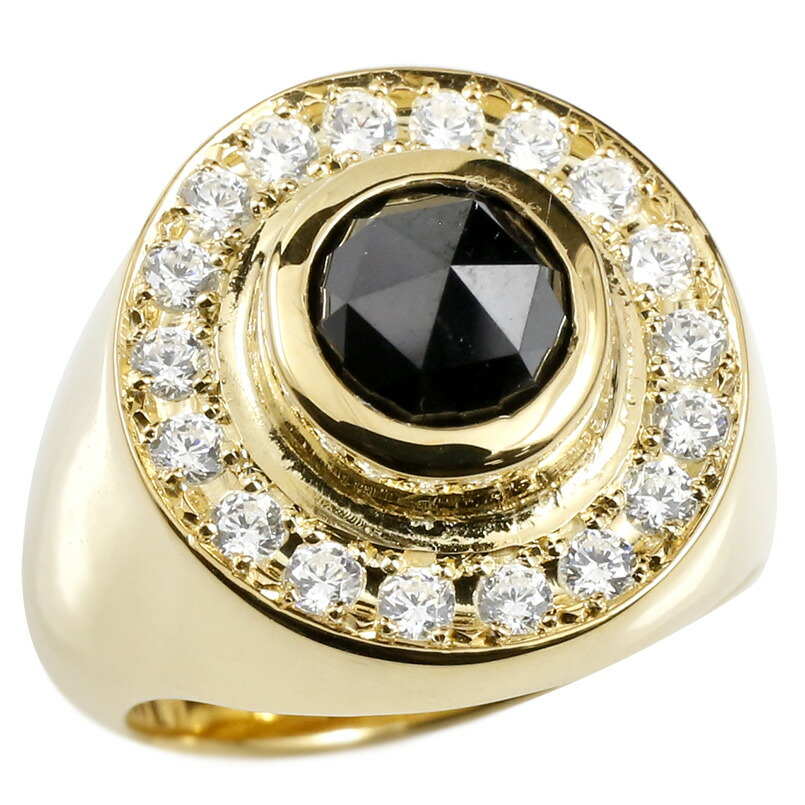 メンズ リング ブラックダイヤモンド ダイヤモンド イエローゴールドk18 印台 幅広 指輪 リング ダイヤ 一粒 大粒 18金 ピンキーリング 宝石 男性用 父の日