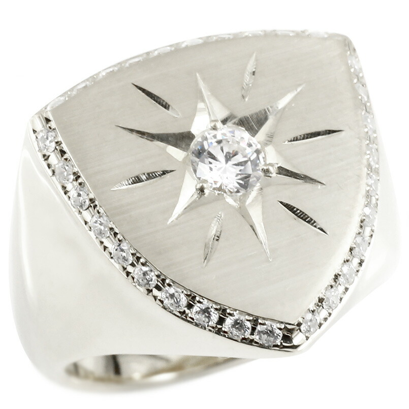 ダイヤモンド 印台 幅広 指輪 つや消し サテン仕上げ リング ダイヤ 一粒 大粒 後光留め ロータリー型