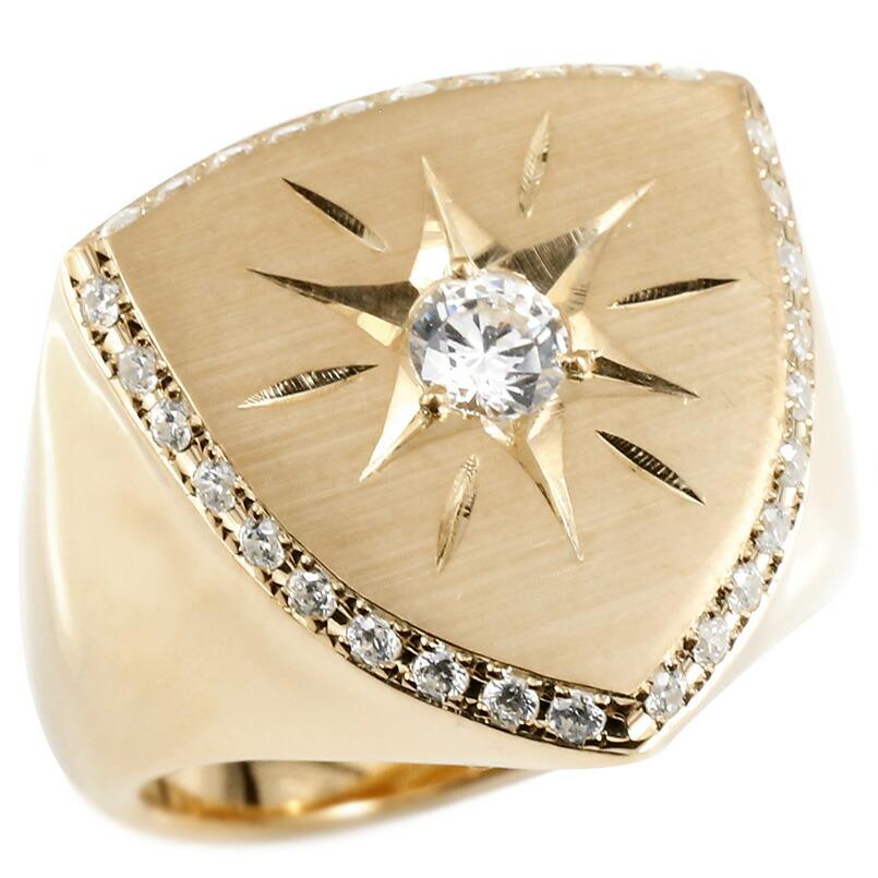キュービックジルコニア 印台 幅広 指輪 つや消し サテン仕上げ リング 後光留め ロータリー型