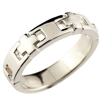 クロス シルバーリング 指輪 幅広 つや消し
