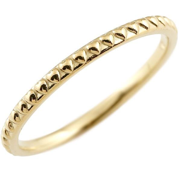 メンズ ピンキーリング イエローゴールドk18 ハート 極細 18金 華奢  アンティーク ストレート 指輪