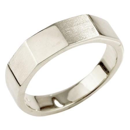 メンズ カットリング 指輪 ホワイトゴールドk18 ピンキーリング 地金 つや消し ストレート 18金 男性用