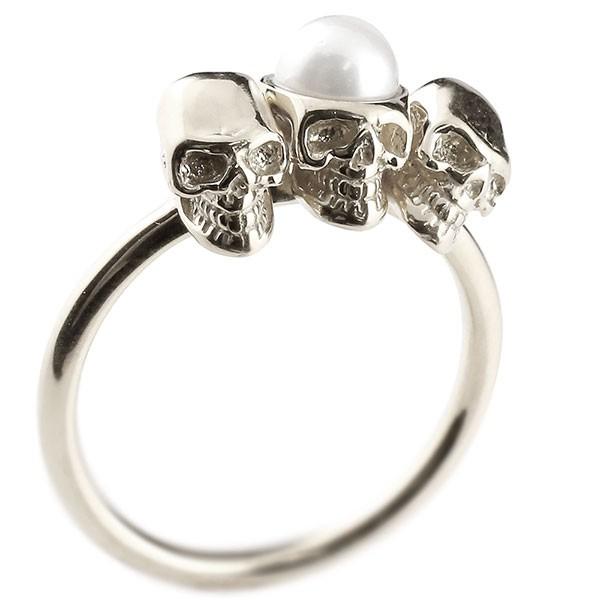 プラチナリング ドクロ パール 指輪 ピンキーリング pt900 髑髏 スカル メンズ