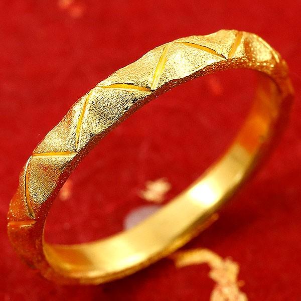 純金 24金 ゴールド k24 指輪 ピンキーリング ホーニング加工 婚約指輪 エンゲージリング  地金リング 22-26号 ストレート
