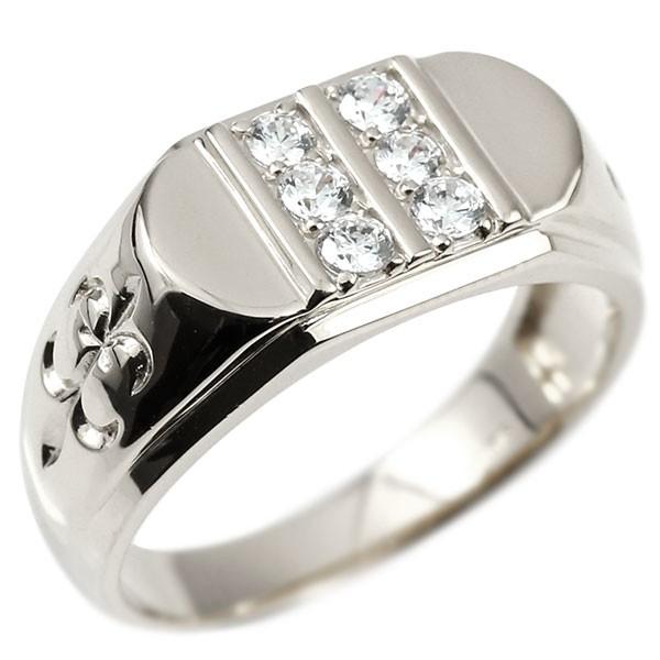 メンズ リング キュービックジルコニア ホワイトゴールドk18 ユリの花 幅広 印台 指輪