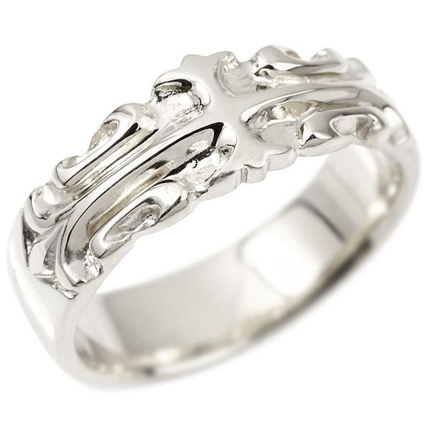 メンズ リング ホワイトゴールドk10 クロス ユリの花 幅広 指輪 地金 リング シンプル 宝石なし ピンキーリング フルール・ド・リス 男性用