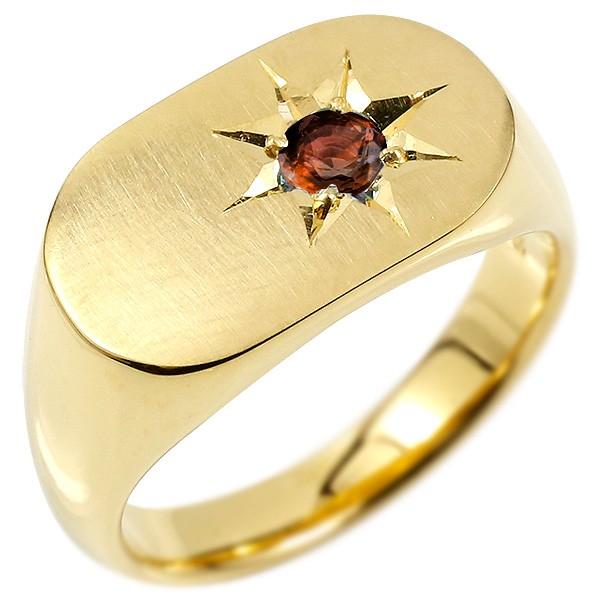 メンズ リング ガーネット イエローゴールドk10 印台 幅広 指輪 つや消し サテン仕上げ リング 一粒 後光留め 男性用 ピンキーリング 宝石