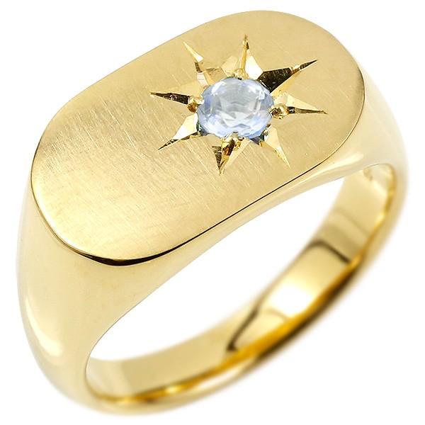 メンズ リング ブルームーンストーン イエローゴールドk10 印台 幅広 指輪 つや消し サテン仕上げ リング 一粒 後光留め 男性用 ピンキーリング 宝石