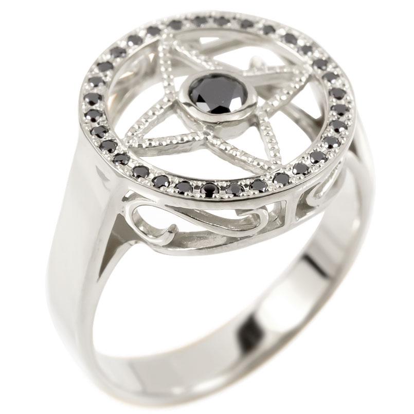 メンズ リング ブラックダイヤモンド シルバー925 四芒星 指輪 sv925 ピンキーリング リング ダイヤ 男性用 コントラッド 東京