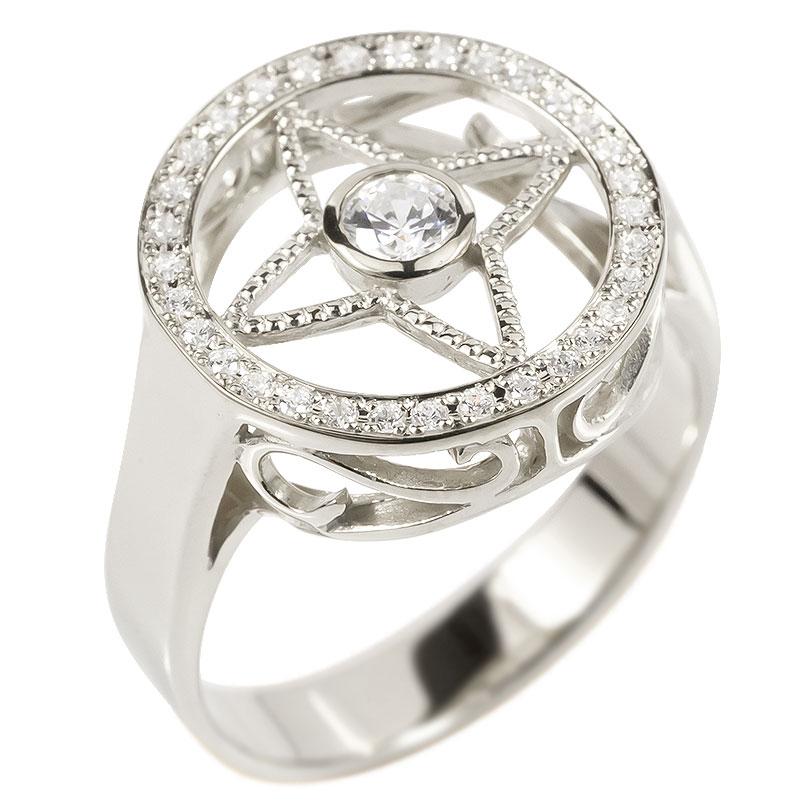 メンズ リング ダイヤモンド シルバー925 四芒星 指輪 sv925 ピンキーリング リング ダイヤ 男性用 コントラッド 東京