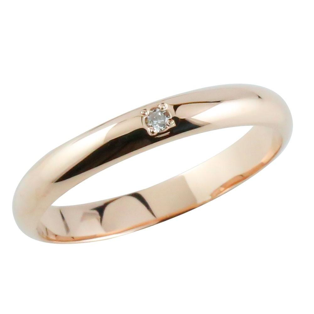 メンズ ダイヤモンドリング ピンキーリング ピンクゴールドk18 指輪 甲丸リング ダイヤ 18金 男性用