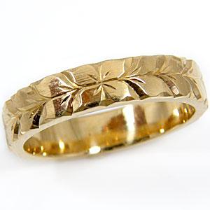 【送料無料】メンズ:ハワイアンジュエリー:ハワイアンリング:指輪:イエローゴールドk18:K18:プルメリア(花):マイレ(葉):小指に記念にお守りとして:ハワイ【工房直販】