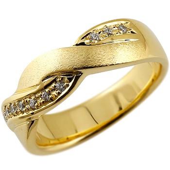 メンズ ダイヤモンド リング ダイヤ 指輪 ダイヤモンドリング 幅広 つや消し イエローゴールドk18