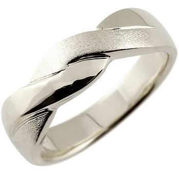 メンズ ホワイトゴールドk18リング 指輪 幅広 つや消し